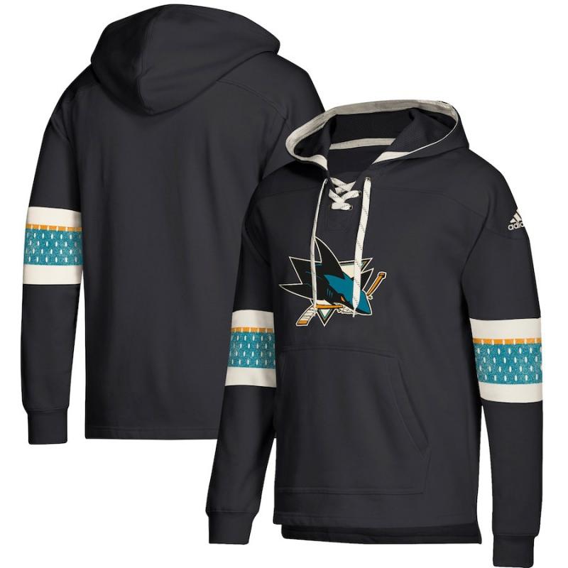 2f9cabd457871 San Jose Sharks pánska mikina s kapucňou black Adidas Jersey Lace-Up  Pullover Hoodie