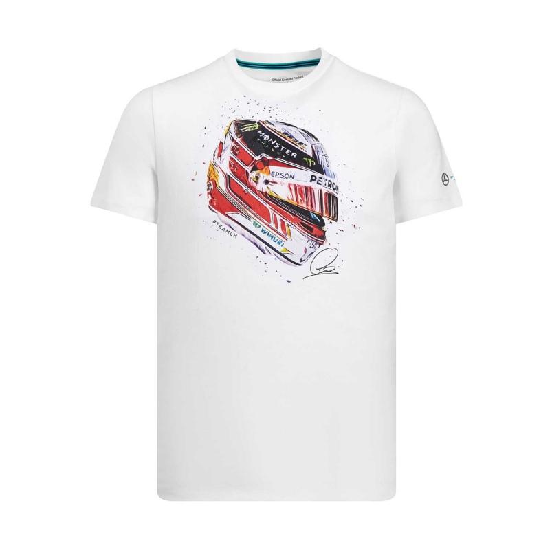 8881ff808 Mercedes AMG Petronas pánske tričko white Hamilton Helmet F1 Team 2019