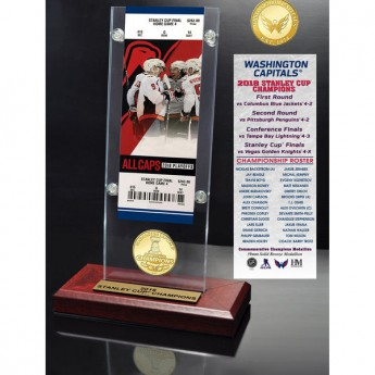 Washington Capitals darčekový set 2018 Stanley Cup Champions 3.5 x 9 Ticket & Bronze Coin Acrylic Desk Top