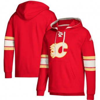 Calgary Flames pánska mikina s kapucňou red Adidas Jersey Lace-Up Pullover Hoodie
