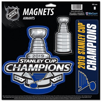 St. Louis Blues set magnetiek WinCraft 2019 Stanley Cup Champions Official Locker Room 3-Piece Indoor/Outdoor